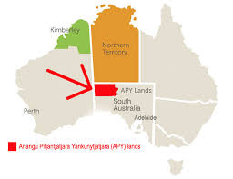 Map showing APY Lands in South Australia